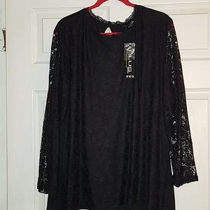 Tops - Lacy Black Blouse 4X